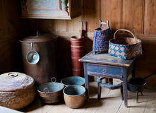 Antique Swedish bowls and baskets royalty free stock photos