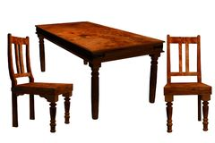 Antique table and chairs Stock Photo