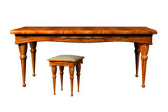 Antique Table and stool 3d. Antique Table and and stool 3d isolated over the white Stock Photo