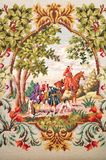 Antique tapestry. Fragment scene of handmade antique tapestry royalty free stock images