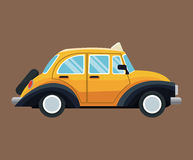 Antique taxi car side view brown background Stock Image