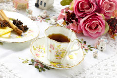 Antique tea cup on the table. Vintage style Royalty Free Stock Photography