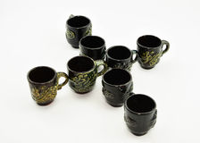 Antique tea cups. Antique tea cup eight piece Royalty Free Stock Photography