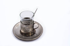 Antique tea glass cup holder Royalty Free Stock Photo