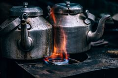Antique tea kettles Royalty Free Stock Image