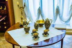 Antique tea set in Catherine Palace Stock Photo