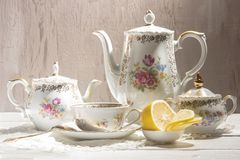Antique tea set Royalty Free Stock Images