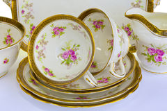 Antique tea set for two. Stock Photo