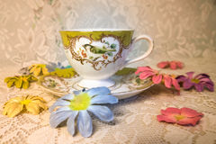 Antique teacup with bird Royalty Free Stock Photography