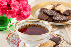 Antique Teacup with Cookies Stock Photo