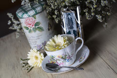 Antique Teacup with Old Photograph Royalty Free Stock Photo
