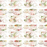 Antique teacup repeat seamless pattern. Antique vintage shabby chic teacup repeat seamless pattern Stock Image
