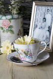 Antique Teacup and Yellow Daisy Flower and Old Photograph Royalty Free Stock Images