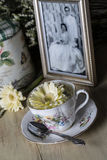 Antique Teacup and Yellow Daisy Flower With Old Photograph Stock Photo