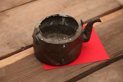 antique teapot, dishes, tea stock image
