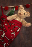 Antique teddy bear in stocking Stock Photo