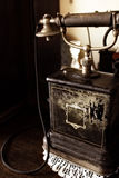 Antique Telephone. Close up of black antique telephone Royalty Free Stock Photos