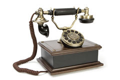 Antique telephone. Width modern button Stock Photography