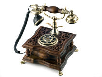 Antique telephone. With modern buttons isolated Stock Photography