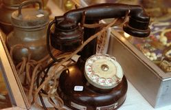 Antique telephone-France Stock Photos