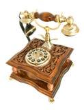 Antique telephone isolated over white. Conversation. Antique telephone isolated over white (wide-angle shot royalty free stock photo