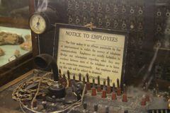 Antique telephone switch with sign Royalty Free Stock Photo