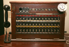 Antique telephone switchboard. Royalty Free Stock Images