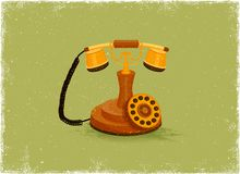 Antique telephone. In vintage vector style Stock Image