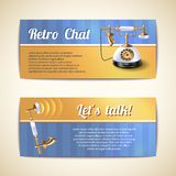 Antique telephones horizontal banners Royalty Free Stock Images