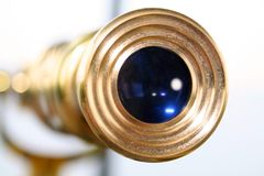 Antique telescope. Close up shot of telescope viewing lens Stock Photos