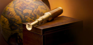Antique telescope royalty free stock photo