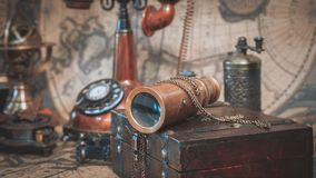 Antique Telescope And Pirate Collection stock photos