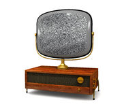Antique Television with static stock illustration