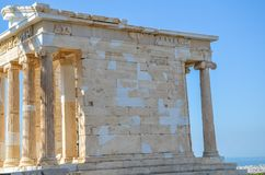 Antique temple on the Acropolis site in Athens, Greece. Royalty Free Stock Images