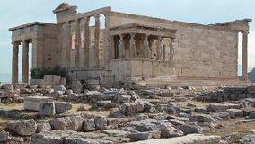 Antique temple in Athenian Acropolis, Greece stock video
