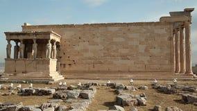Antique temple in Athenian Acropolis, Greece stock video footage