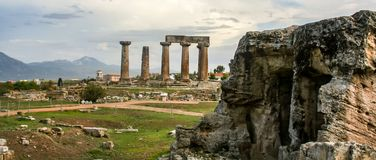 Antique temple in Corinth royalty free stock photography