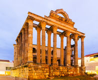 Antique temple of Diana in dawn. Merida Stock Image