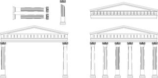 Antique Temple Facade. Illustration of classical Greek or Roman Ionic column Stock Photography