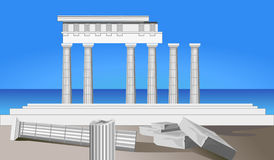 Antique Temple Ruins. Illustration of antique temple ruins and mediterranean sea Stock Photography