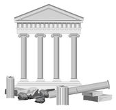 Antique Temple Ruins. Illustration of antique temple ruins isolated on white Stock Photo