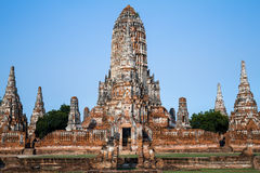 Antique temple in Thailand on blue sky background Royalty Free Stock Images