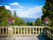 Antique terrace overlooking the lake stock photo