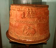 Antique terracotta paddy granary in the museum. Antique terracotta paddy granary with beautiful sculptures in the museum at vellore fort, tamilnadu,india Royalty Free Stock Photography