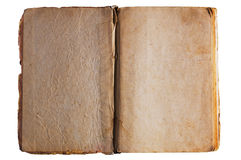 Antique textured opened book pages. With stained surface isolated on white Royalty Free Stock Photography