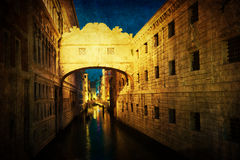 Antique textured picture of the bridge of Sighs in Venice Stock Photography