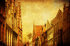 Antique textured picture of historical buildings in Bruges, Belgium Royalty Free Stock Images