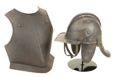 Antique 17th Century English Civil War Period Lobstertail Helmet and Breast Plate Royalty Free Stock Photography