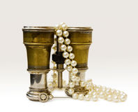 Antique theater binoculars with old pearls Royalty Free Stock Photography