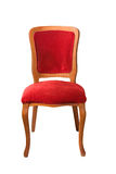 Antique theater chair. Elegant wooden red theater chair front view Royalty Free Stock Photography